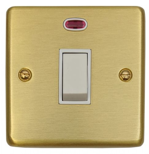 G&H CSB26W Standard Plate Satin Brushed Brass 1 Gang 20 Amp Double Pole Switch & Neon